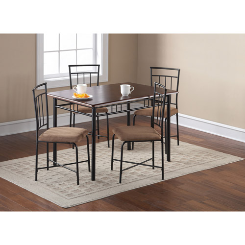 Mainstays 5-Piece Dining Set Wood And Metal Table Chairs