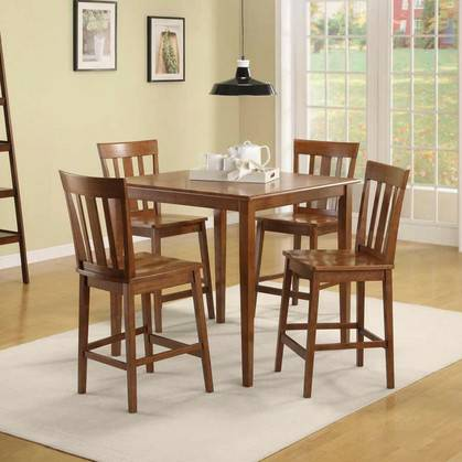 New Mainstays 5 Piece Counter Height Dining Set Warm Cherry Finish