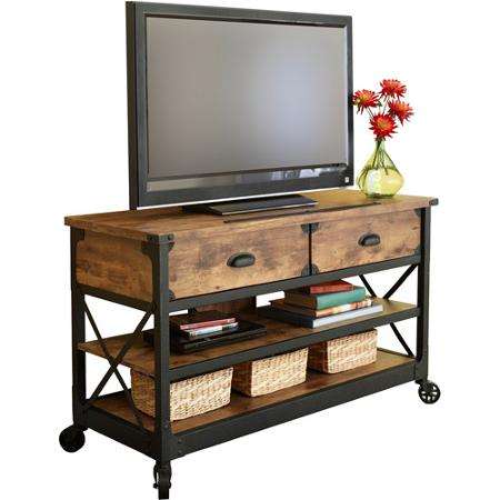Better homes and gardens rustic country antiqued black pine panel tv stand for tvs up to 52 Home garden tv