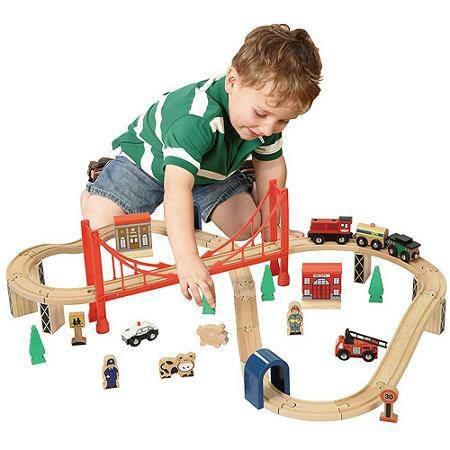 Magnificent Wooden 50 Piece Train Set With Small Table Interior Design Ideas Apansoteloinfo
