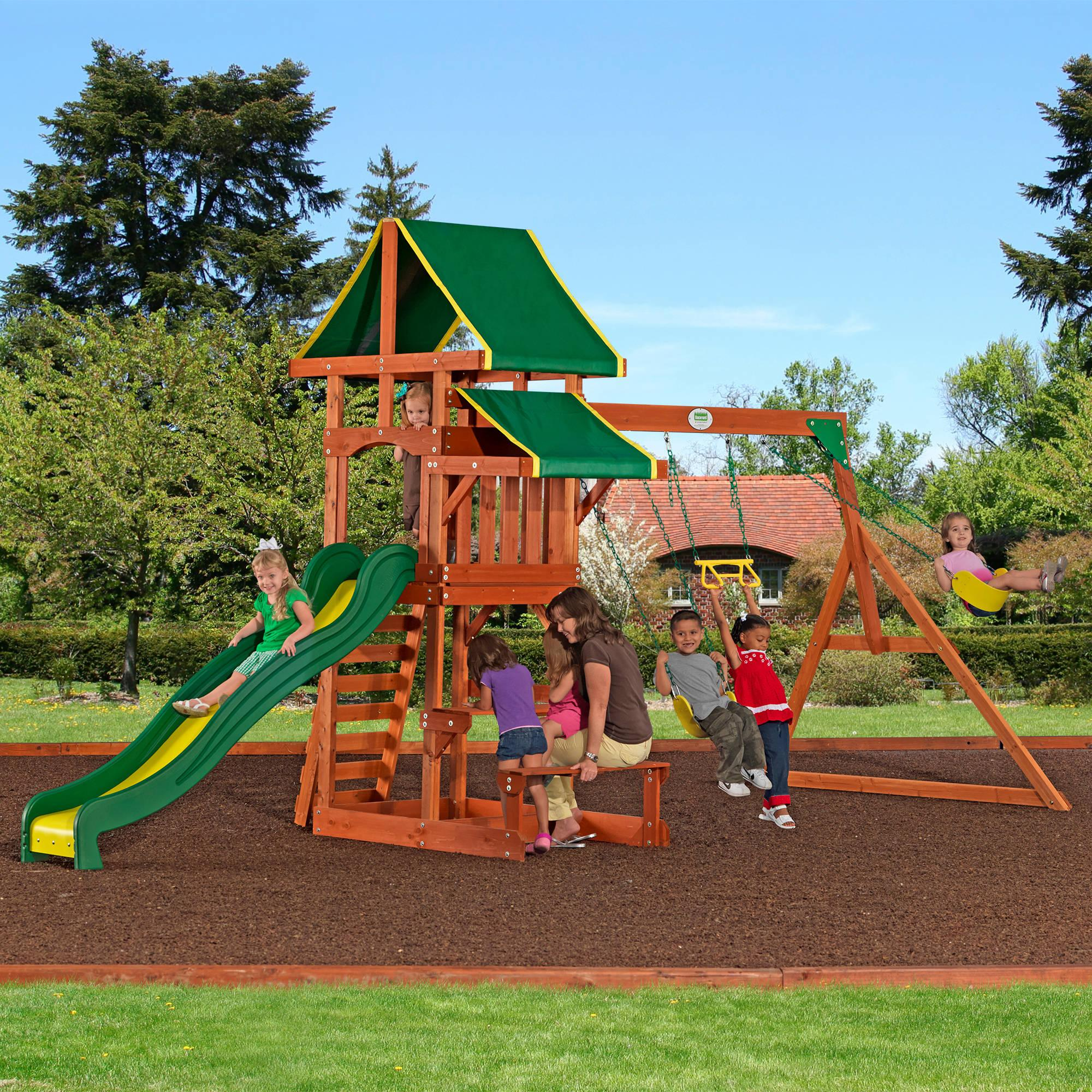 wooden swing set backyard discovery tucson cedar wooden swing set
