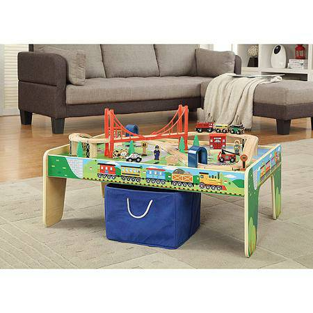 Miraculous Wooden 50 Piece Train Set With Small Table Interior Design Ideas Apansoteloinfo